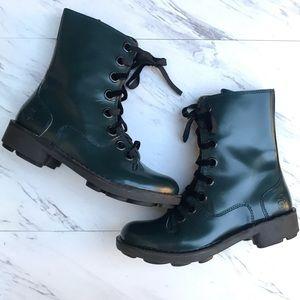 Fly London Turquoise Combat Boots Velvet Laces